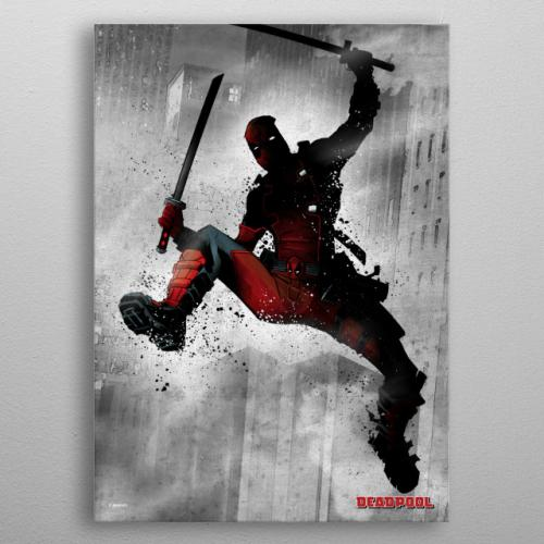 MARVEL - Dark Edition - Magnetic Metal Poster 31x21 - Deadpool