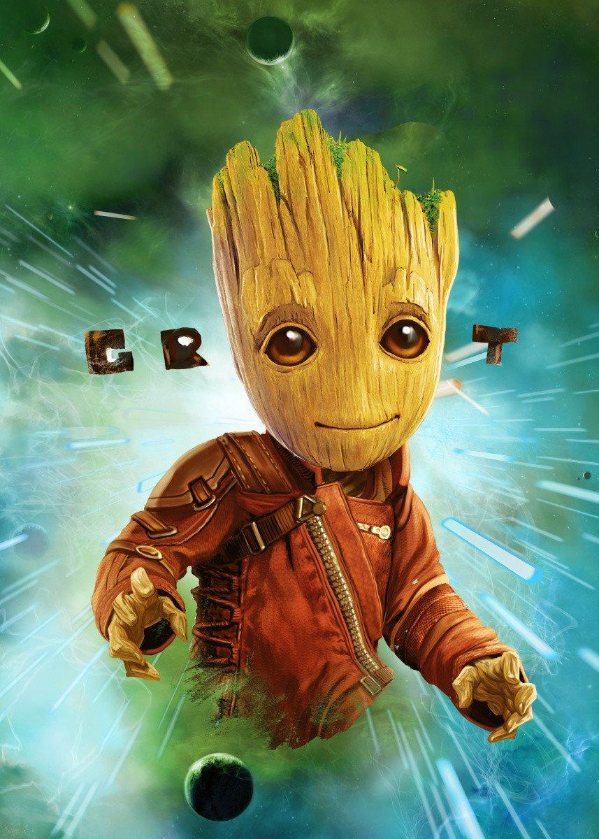 GUARDIANS OF THE GALAXY 2 - Magnetic Metal Poster 45x32 - Groot Space