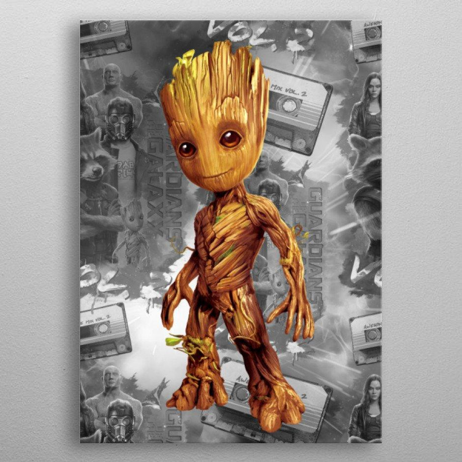 GUARDIANS OF THE GALAXY 2 - Magnetic Metal Poster 45x32 - Baby Groot