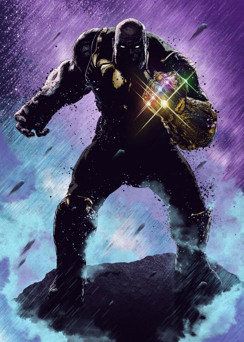 MARVEL - Dark Edition - Magnetic Metal Poster 45x32 - Thanos