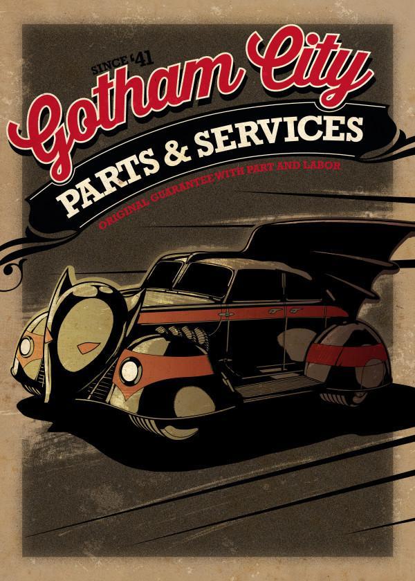 GOTHAM CITY MOTOR CLUB - Magnetic Metal Poster 45x32 - Batmobile 1943
