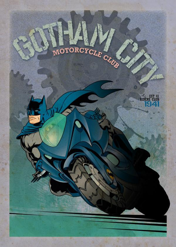 GOTHAM CITY MOTOR CLUB - Magnetic Metal Poster 45x32 - Batcycle