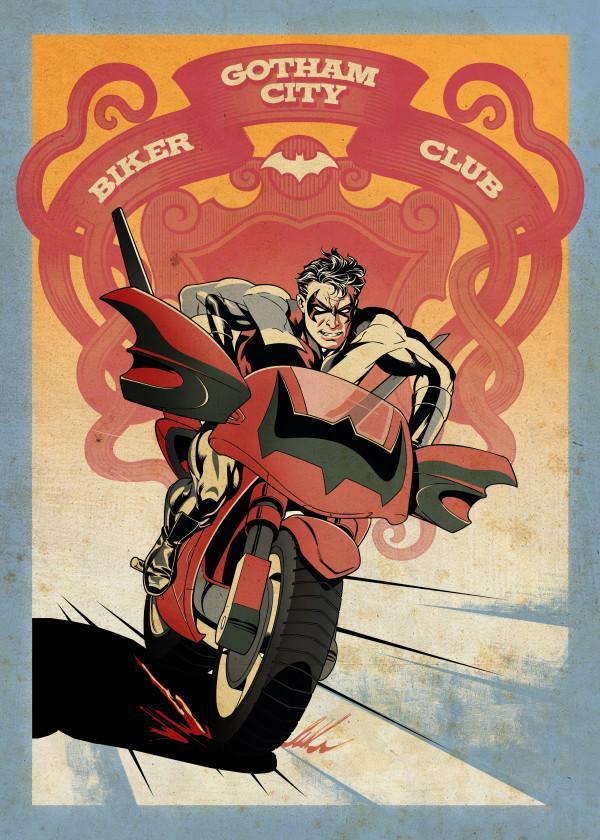 GOTHAM CITY MOTOR CLUB - Magnetic Metal Poster 45x32 - Nightwing Bike
