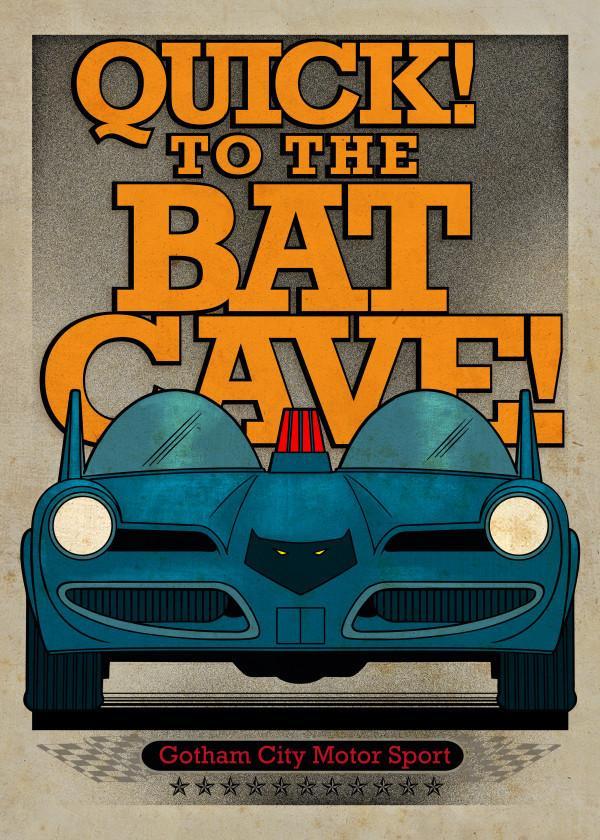 GOTHAM CITY MOTOR CLUB - Magnetic Metal Poster 45x32 - Batmobile 1966