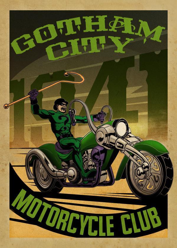GOTHAM CITY MOTOR CLUB - Magnetic Metal Poster 45x32 - Riddler Rider