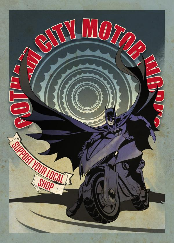 GOTHAM CITY MOTOR CLUB - Magnetic Metal Poster 45x32 - Modern Batcycle