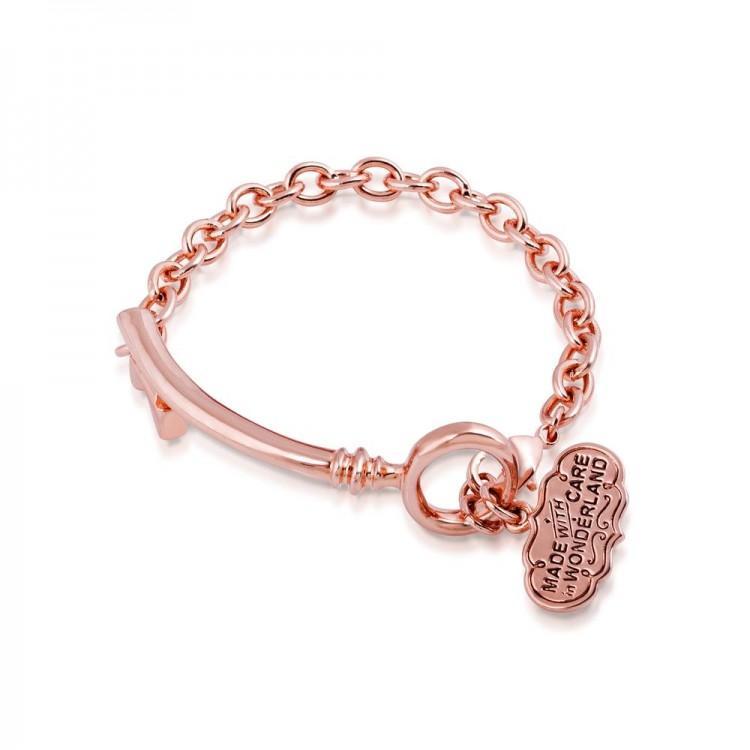 ALICE IN WONDERLAND - Bracelet Clé 'Rose Gold Plated'