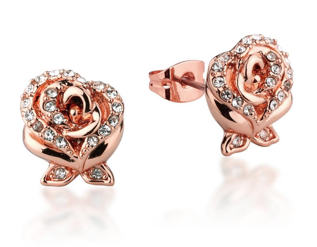 BEAUTY & THE BEAST - Rose Crystal Stud Earrings 'Rose Gold Plated'