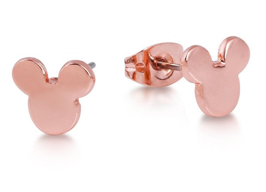 DISNEY MICKEY MOUSE - Head Silhouette Stud Earrings 'Rose Gold Plated'