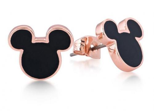 DISNEY MICKEY MOUSE - Stud Earrings Black 'Rose Gold Plated'