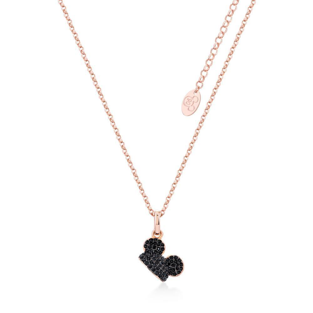 DISNEY MICKEY MOUSE - Ear Hat B.Crystal Necklace 'Rose Gold Plated'