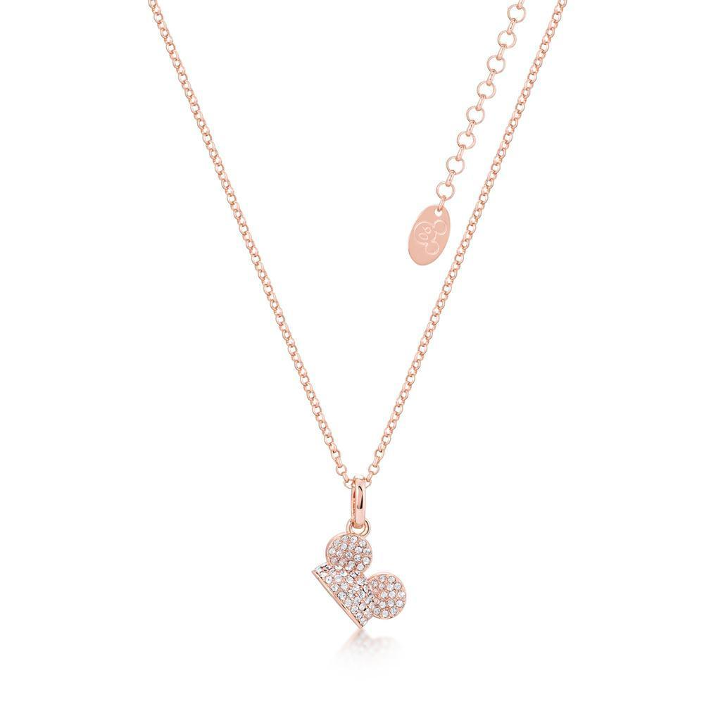 DISNEY MICKEY MOUSE - Ear Hat C.Crystal Necklace 'Rose Gold Plated'