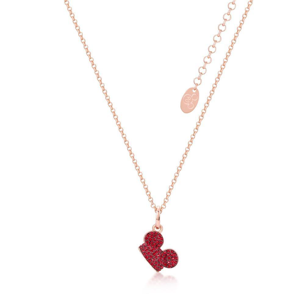 DISNEY MICKEY MOUSE - Ear Hat R.Crystal Necklace 'Rose Gold Plated'