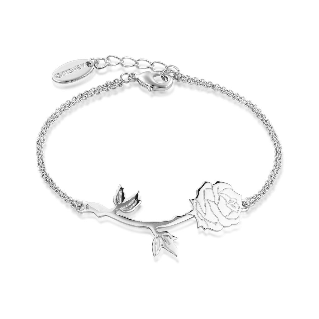 BEAUTY & THE BEAST - Rose Bracelet 'White Gold Plated'