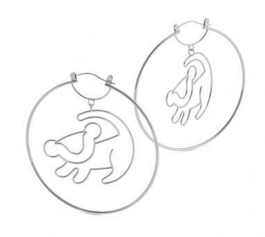 LION KING - Simba Hoop Earrings 'White Gold Plated'