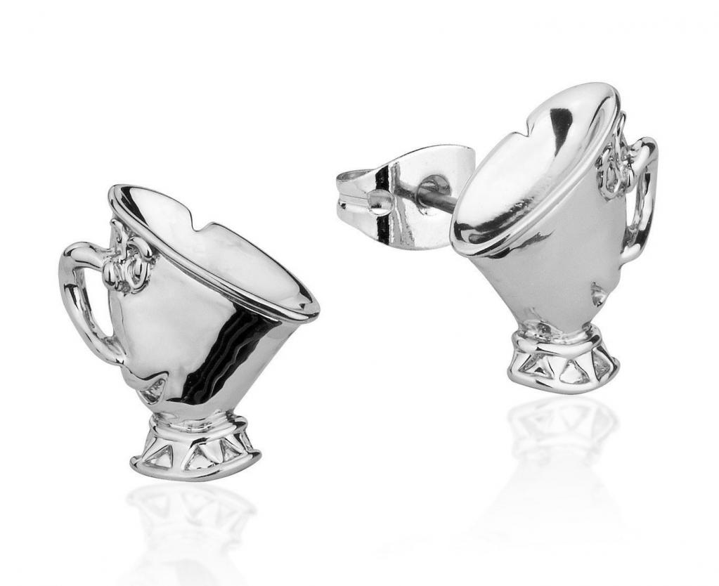 BEAUTY & THE BEAST - Chip Stud Earrings 'White Gold Plated'