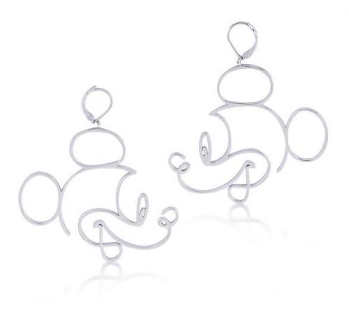 DISNEY MICKEY MOUSE - Wire Style Earrings 'White Gold Plated'