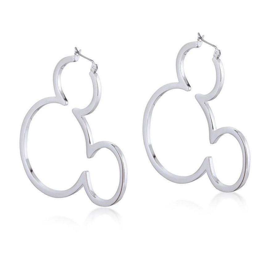 DISNEY MICKEY MOUSE - Outline Hoop Earrings 'White Gold Plated'