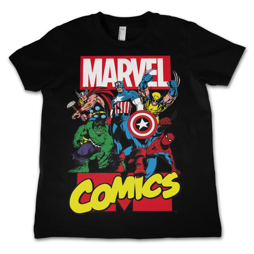MARVEL COMICS - T-Shirt KIDS Comics Heroes - Black (10 Years)