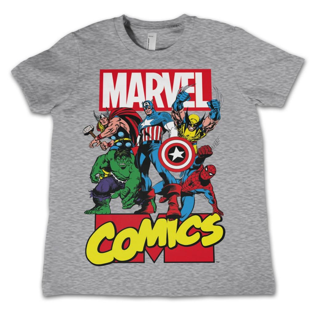 MARVEL COMICS - T-Shirt KIDS Comics Heroes - Grey (10 Years)