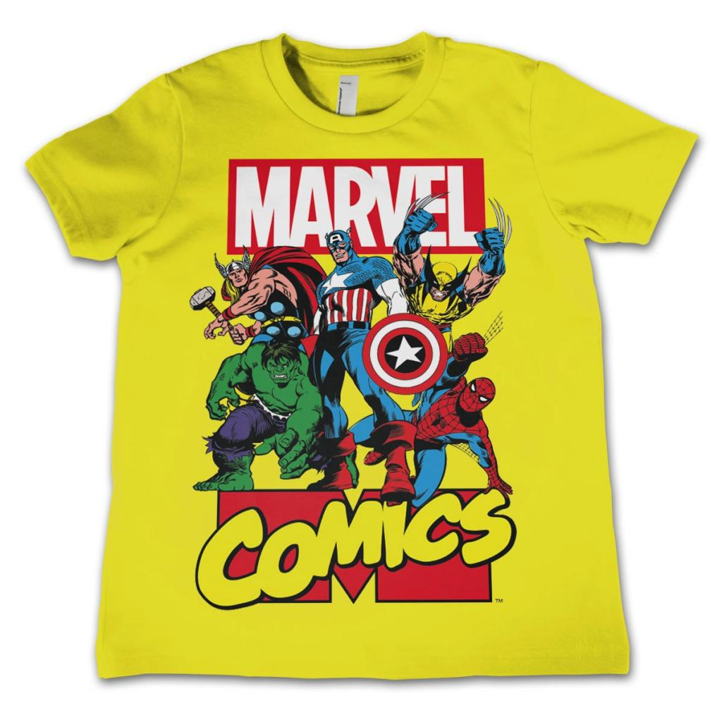 MARVEL COMICS - T-Shirt KIDS Comics Heroes - Yellow (12 Years)