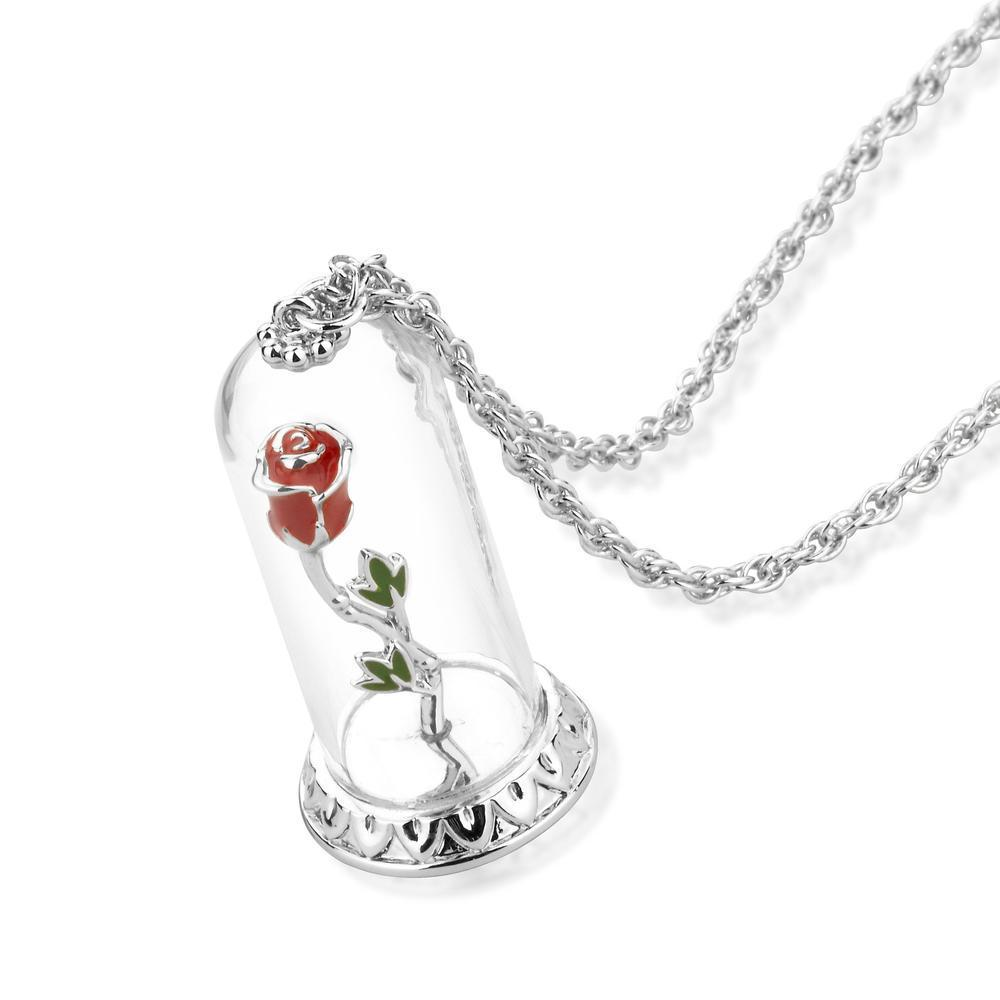 BEAUTY & THE BEAST - Enchanted Rose Necklare 'White Gold Plated'