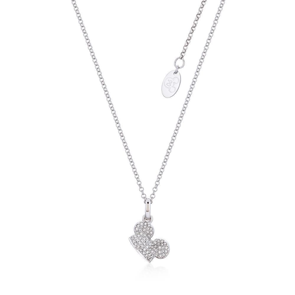 DISNEY MICKEY MOUSE - Ear Hat C.Crystal Necklace 'White Gold Plated'