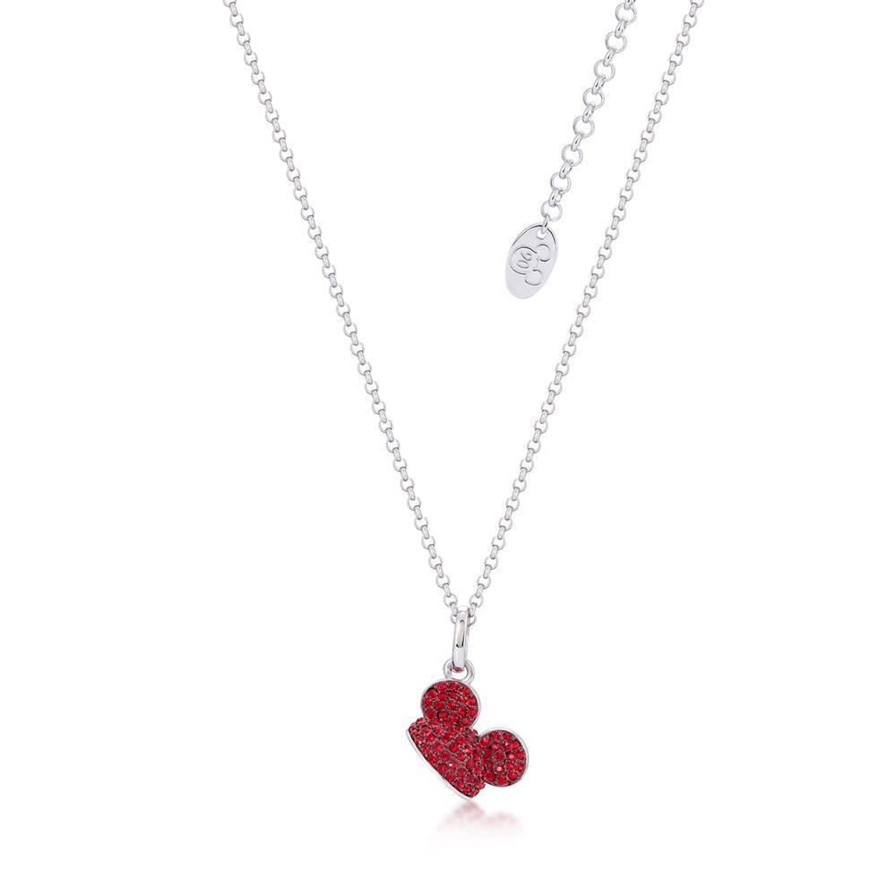 DISNEY MICKEY MOUSE - Ear Hat R.Crystal Necklace 'White Gold Plated'