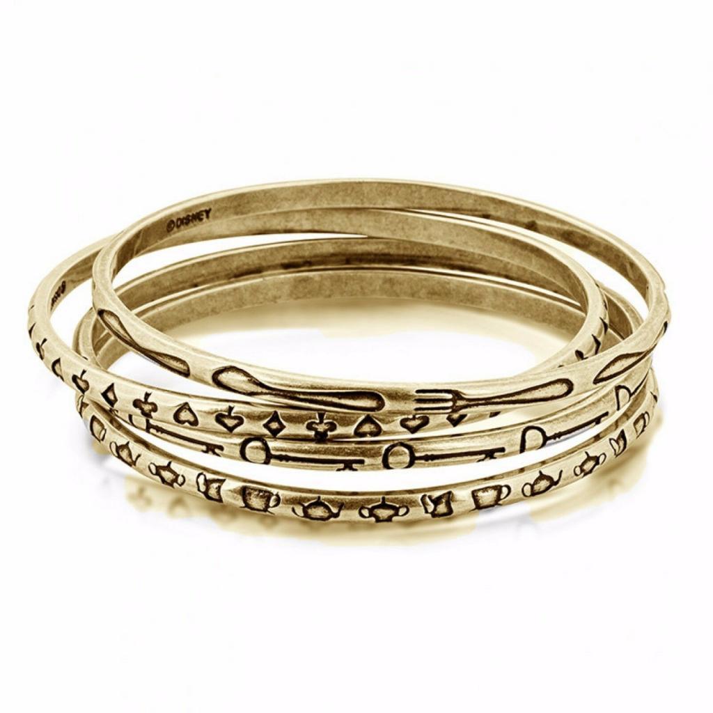 ALICE IN WONDERLAND - Ensemble de Bracelets 'Gold Plated'