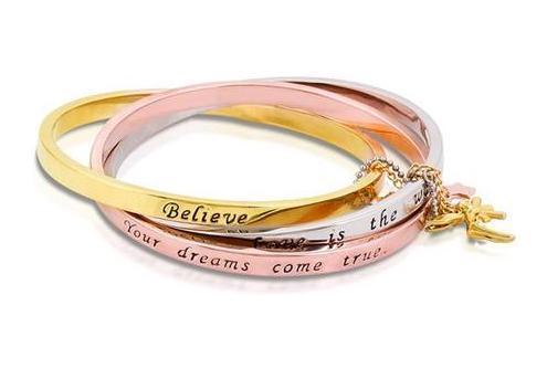 DISNEY TINKER BELL - Interlocking Bracelet 'TriColor Gold Plated'
