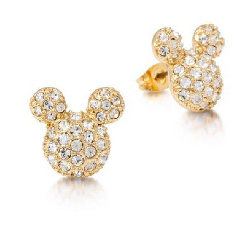 DISNEY MICKEY MOUSE - Crystal Stud Earrings 'Gold Plated'