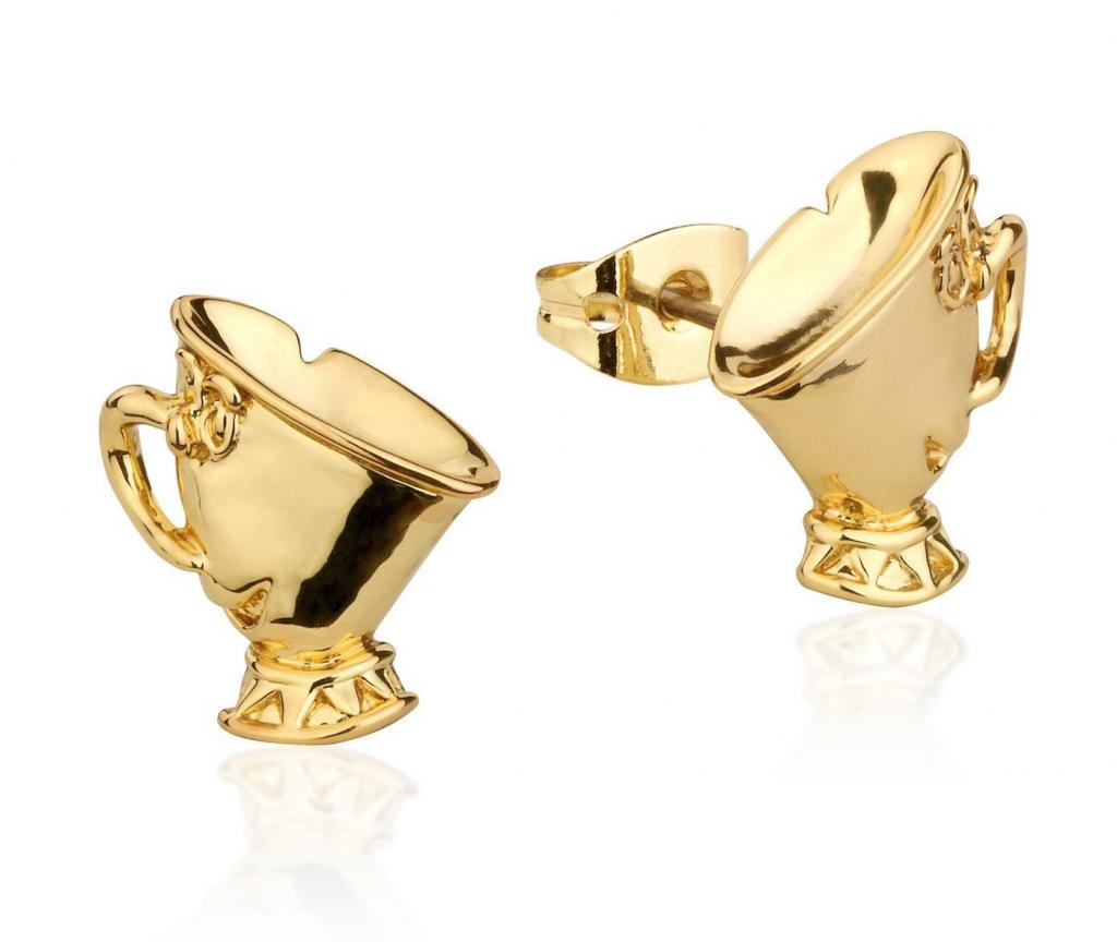 BEAUTY & THE BEAST - Chip Stud Earrings 'Gold Plated'