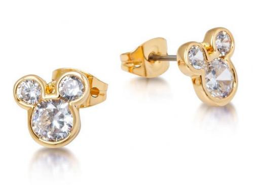 DISNEY MICKEY MOUSE - Crystal Head Stud Earrings 'Gold Plated'