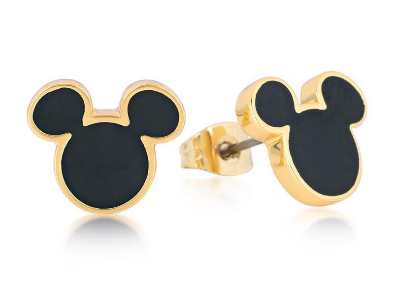 DISNEY MICKEY MOUSE - Stud Earrings Black 'Gold Plated'
