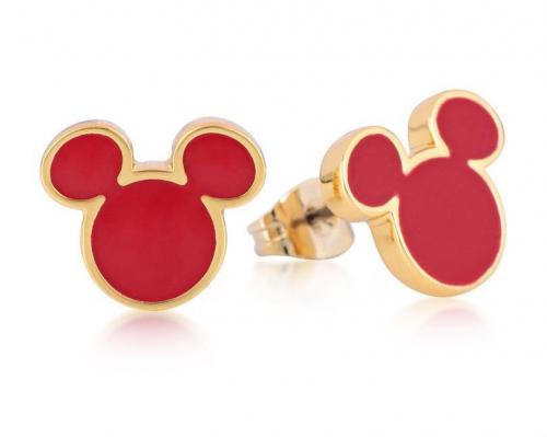 DISNEY MICKEY MOUSE - Stud Earrings Red 'Gold Plated'