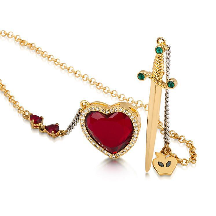 DISNEY SNOW WHITE - Heart & Dagger Necklace 'Gold Plated'_2