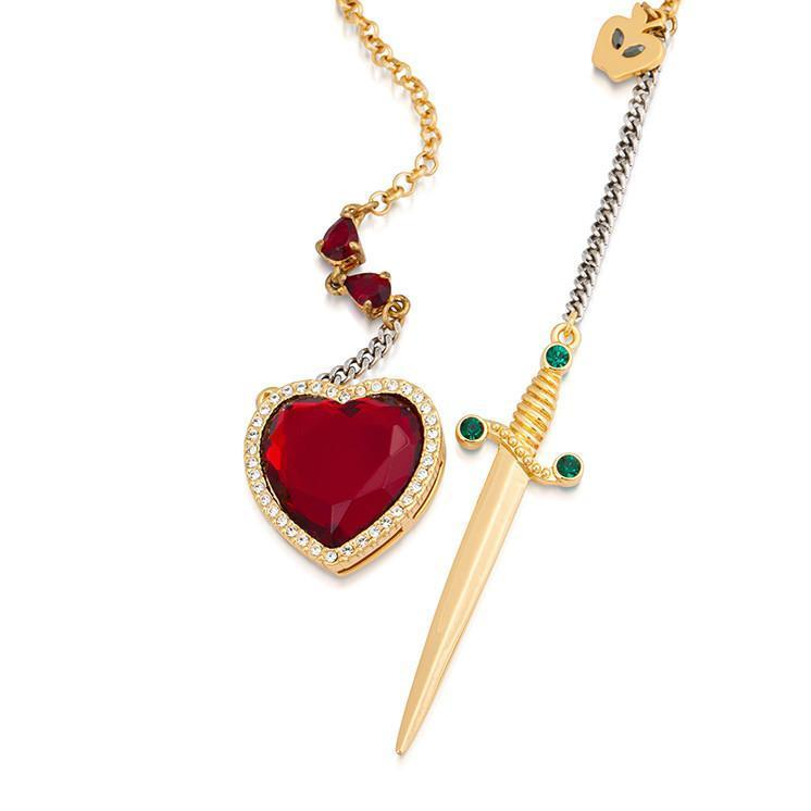 DISNEY SNOW WHITE - Heart & Dagger Necklace 'Gold Plated'_3
