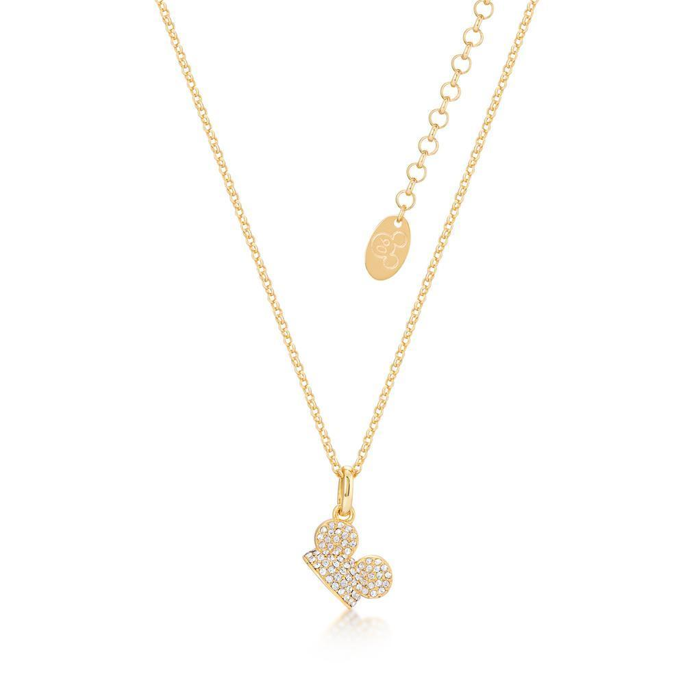 DISNEY MICKEY MOUSE - Ear Hat C.Crystal Necklace 'Gold Plated'
