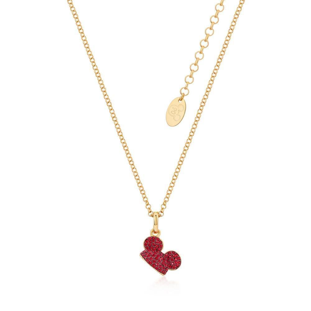 DISNEY MICKEY MOUSE - Ear Hat R.Crystal Necklace 'Gold Plated'