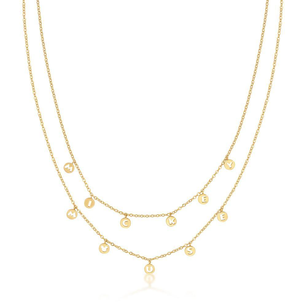 DISNEY MICKEY MOUSE - Word Necklace 'Gold Plated'
