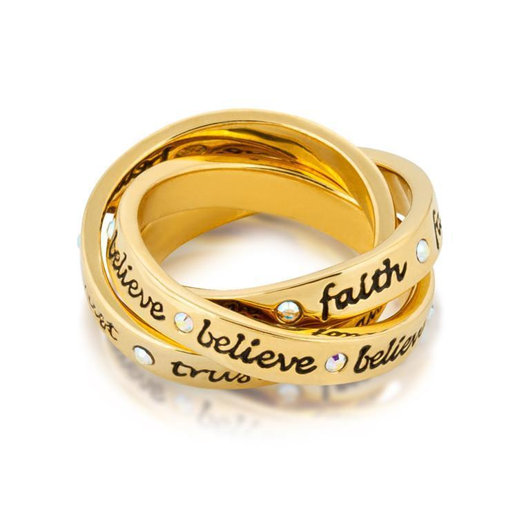 DISNEY TINKER BELL - Interlocking Ring 'Gold Plated' (Size 7)