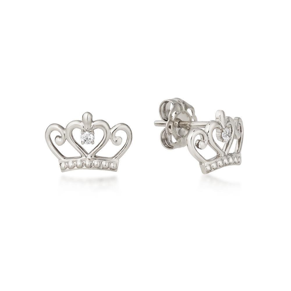 DISNEY METAL PRECIOUS - Princess Crown Earrings 'Sterling Silver'