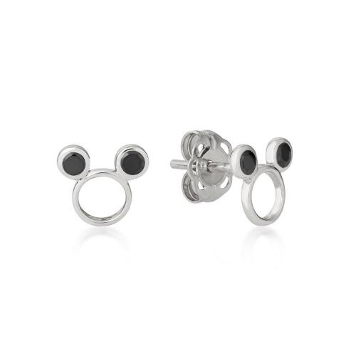 DISNEY METAL PRECIOUS - Black CZ Mickey Earrings 'Sterling Silver'