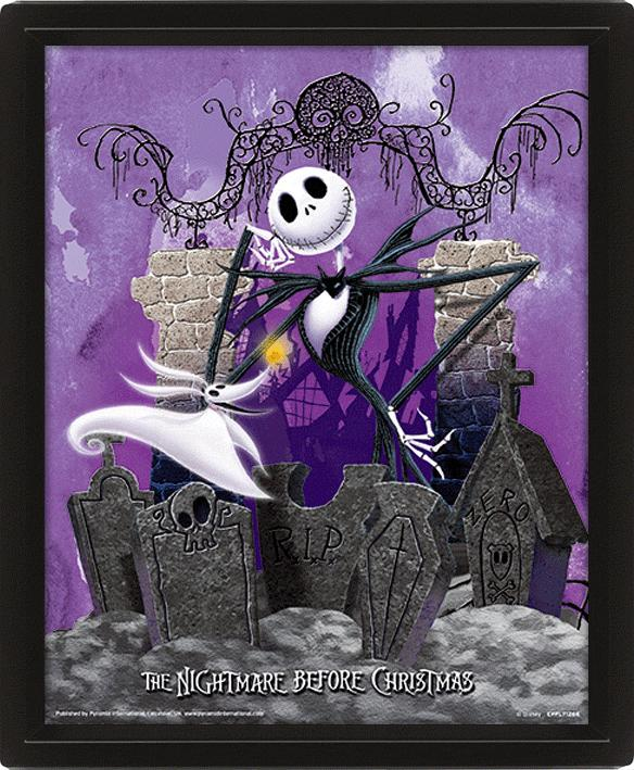 NIGHTMARE BEFORE CHRISTMAS - 3D Lenticular Poster 26X20 - Graveyard