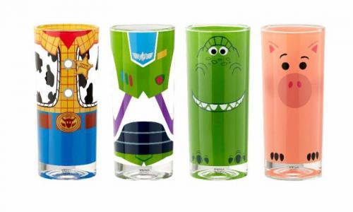 DISNEY - Pack de 4 Verres - Toy Story - Buzz, Woody, Rex & Bayonne