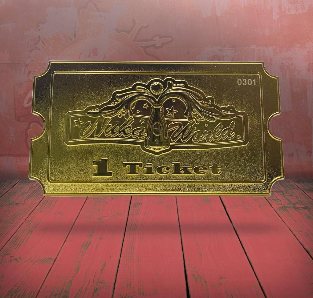 FALLOUT - Nuka World - Ticket plaqué or 24K collector_1
