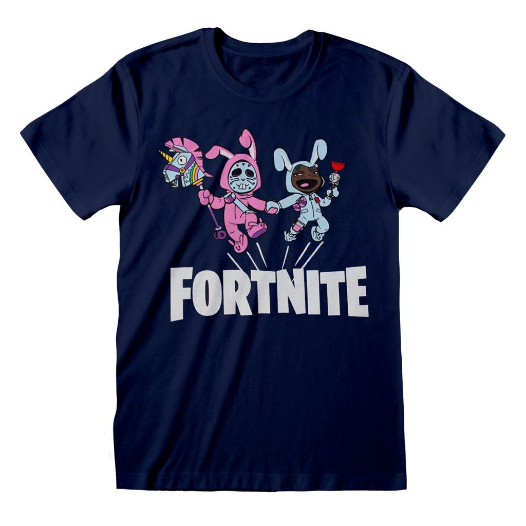 FORTNITE - T-Shirt Kids Bunny Trouble - Marine (7-8 ans)