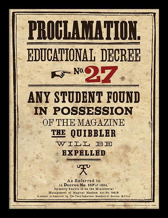 HARRY POTTER - Framed 30X40 Print - Educational Decree No. 27