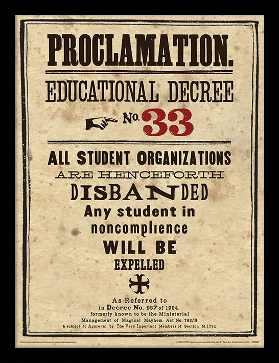 HARRY POTTER - Framed 30X40 Print - Educational Decree No. 33