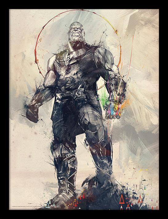 MARVEL - Framed 30X40 Print - Avengers: Infinity War - Thanos Sketch